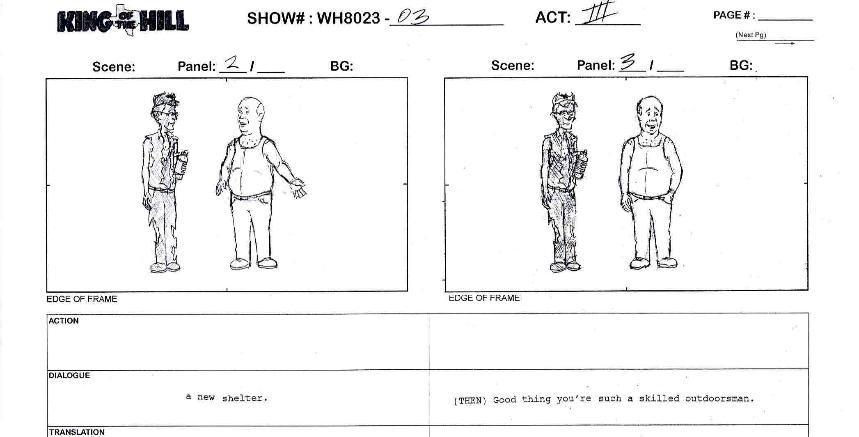 Bob Richardson\'s sample storyboard of King of the Hill